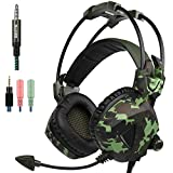 Sades SA931 Stereo 3.5mm Over Ear Gaming Headset Headphones with Microphone for New Xbox One PS4 PC Laptop Mac Tablet Smartphone (Camouflage)