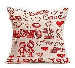 Fundas de Cojines,SHOBDW Regalo de San Valentin Los Amantes pintan Ropa de Cama de Lino Rojo Funda de Almohada de la Boda sofá decoración del ...