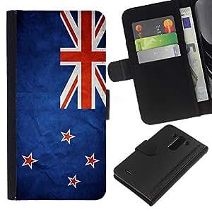BearCase / Cuero de la tarjeta la carpeta del tirón Smartphone Slots Protección Holder /// LG G3 /// Nación Bandera Nacional País Nueva Zelanda