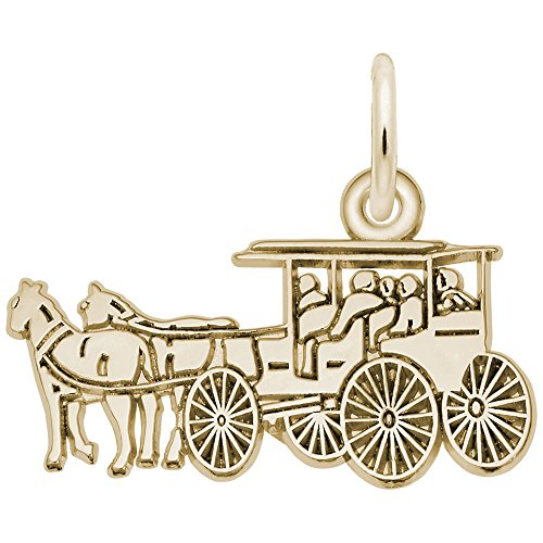 Horse & Carriage Charm In 14k Yellow Gold, Charms for Bracelets and Necklaces