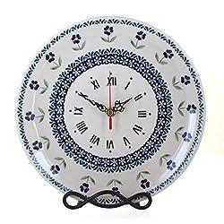 Blue Rose Polish Pottery Blue Daisy Clock