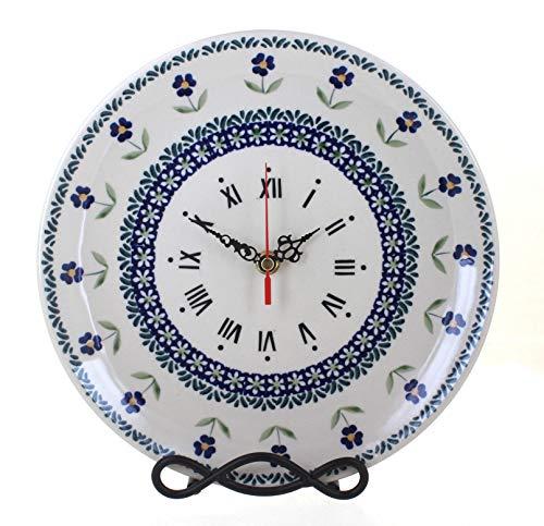 Blue Rose Polish Pottery Blue Daisy Clock ()