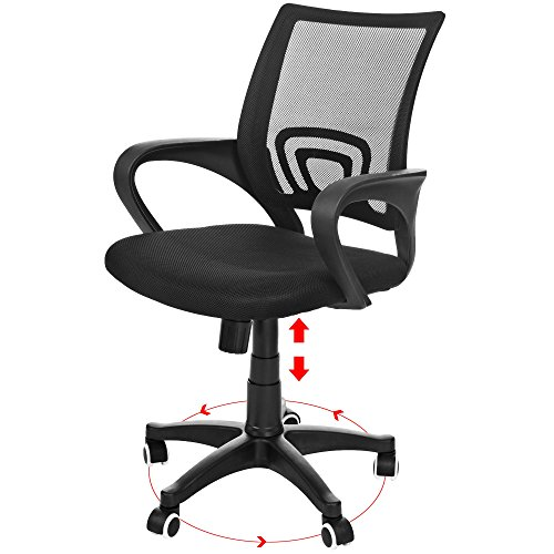 homdox ergonomic office chair with mesh padded seat dual wheel casters 360 degree swivel midback black chair for office family conference room and