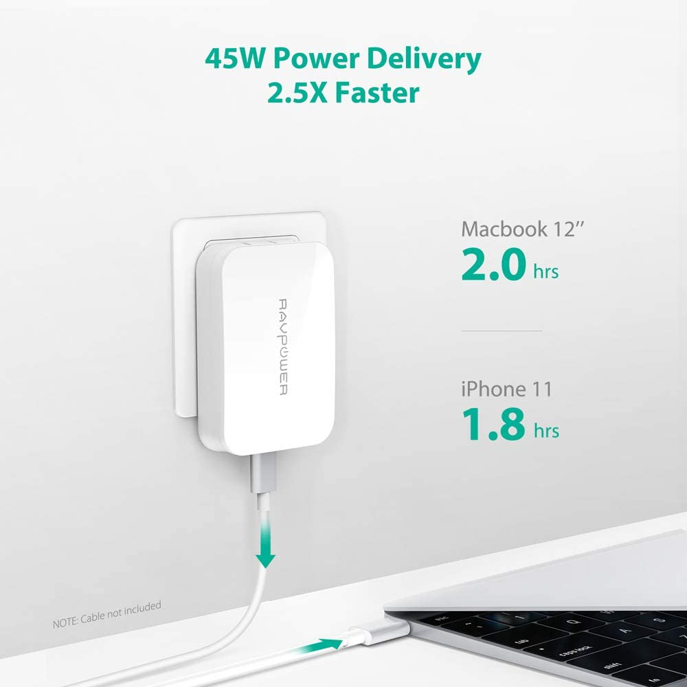 iPad Pro 2018 and More MacBook White USB Wall Charger Dell Xps 15 13 Ultra-Compact Compatible with iPhone 11// Pro//Max RAVPower 45W PD USB-C Charger Type-C Power Delivery Adapter GaN Tech