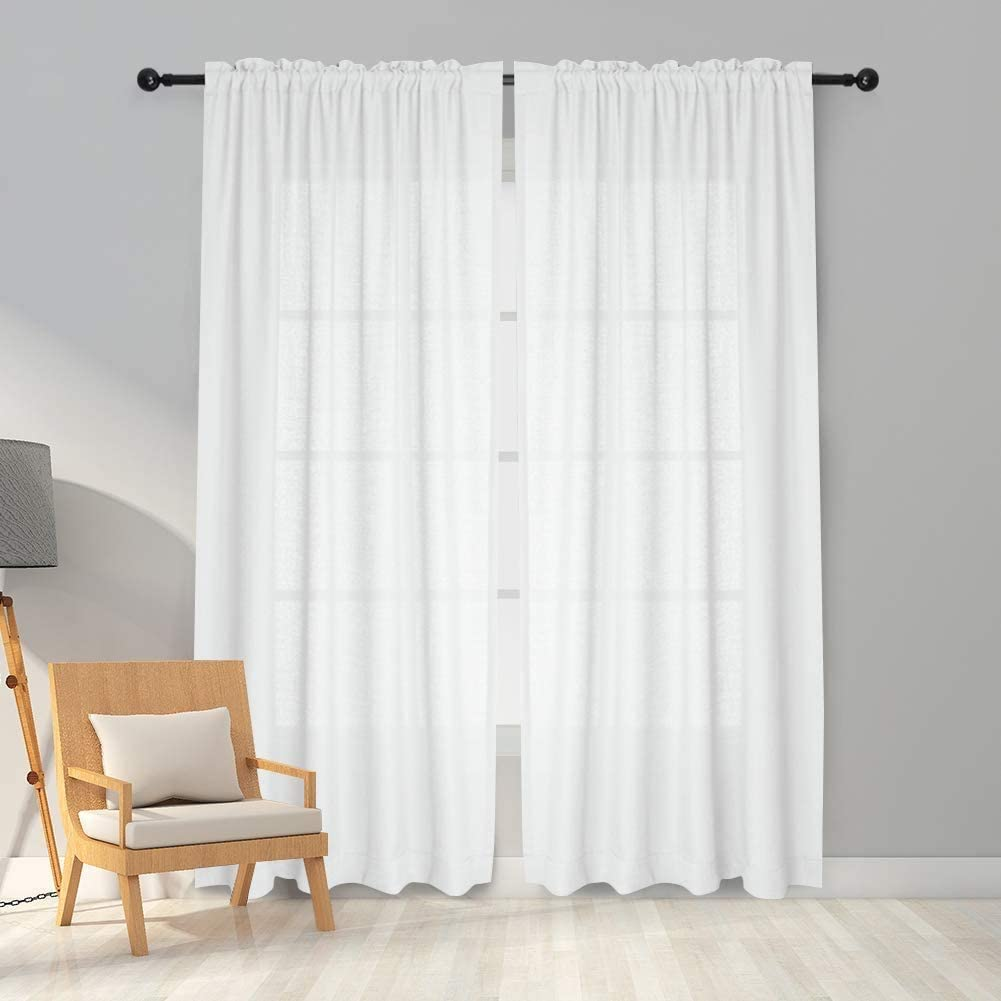 Melodieux 2 Panel Faux Linen Voile Net Curtains Semi Sheer Rod Pocket Drapes for Bedroom, Living Room, Window - White, 55 x 69 inch drop (140 x 175cm) White 55W x 69L Inch - 2 Panels