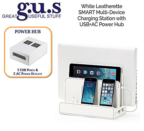 G.U.S. Multi-Device Charging Station Dock & Organizer - Multiple Finishes Available. For Laptops, Tablets, and Phones - Strong Build, SMART White Leatherette with USB+AC Power Hub (8A/40W)