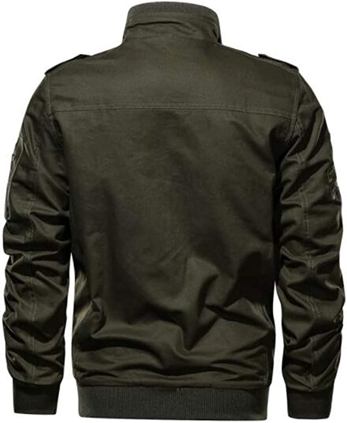 JEWOSOR Mens Autumn and Winter Hooded Military Jacket Multi-Pocket Outdoor Coat