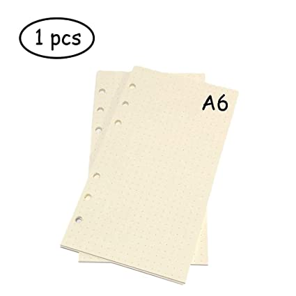 Lvcky A6 - Carpeta de recambio para cuadernos (6 anillas, papel de hojas sueltas, 1 unidad, 45 hojas/90 páginas), diseño de lunares, color blanco