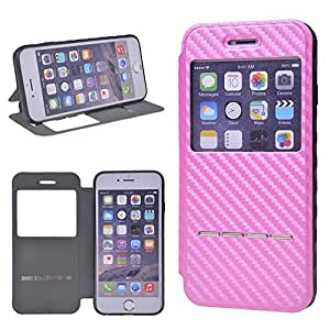 Fundas iPhone 6s, ZEEKAR® [Rosa] Moda Window View Case Flip Cover Carcasa Moda Plegable Funda de Cuero con Ventana y Funciones de Apoyo para Apple iPhone 6 6S (4.7 Pulgadas)