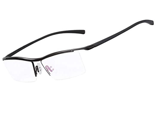 668069a54462 LUOMON Customize Prescription Glasses Men 54mm Semi Rimless Plain Eyeglasses  with Black TR90 Unbreakable Frame EG001