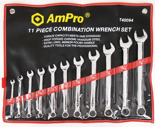AMPRO  T40094 11 Piece Combination Wrench Set SAE 1//4-Inch to 7//8-Inch Builders World Wholesale Distribution