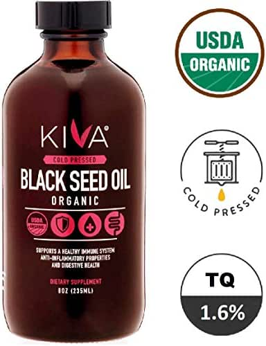Kiva Organic Black Seed Oil (Cumin Seed) - Glass Bottle -RAW, Cold-Pressed and Non-GMO Contains Minimum 1.60% Thymoquinone (TQ) - 8oz / 235ml