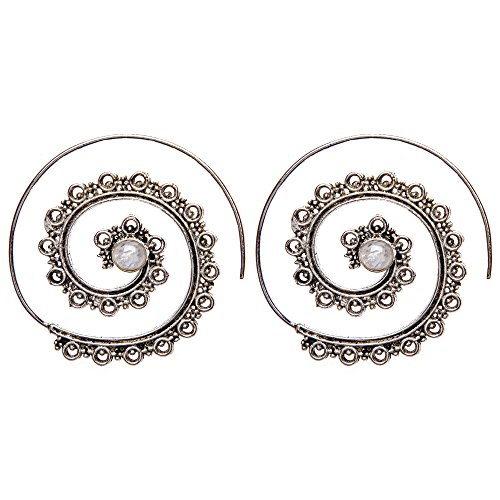 81stgeneration Women's Brass Silver Tone Simulated Moonstone Spiral Dotwork Tribal Ethnic Earrings