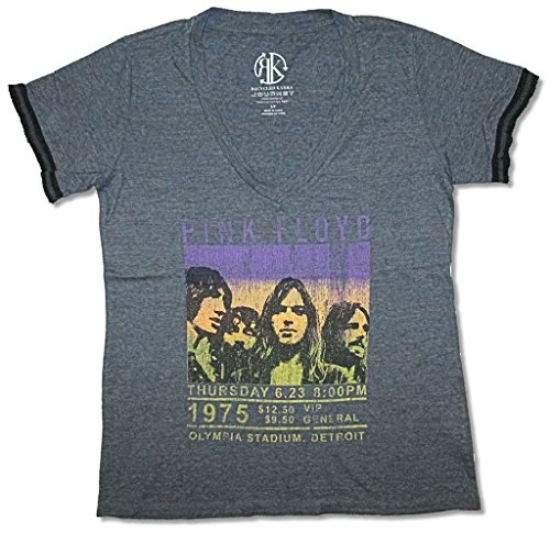 Pink Floyd New Woman T-shirt - Pink Floyd Olympia 1975 Tour Girls Juniors V-Neck Charcoal T Shirt (M)
