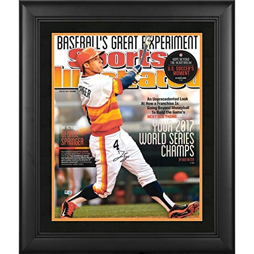 George Springer Houston Astros FAN Authentic Framed 2017 MLB World Series Champions Framed Autographed Signed 16x20 Sports Illustrated Cover Photograph - Certified Signature