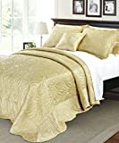 Serenta Quilted Satin 4 Piece Bedspread Set, Queen, Gold