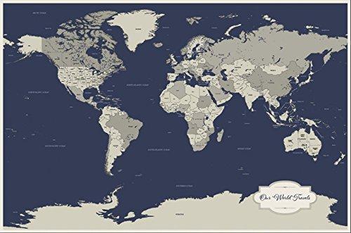 cotton anniversary push pin world map - world travel map