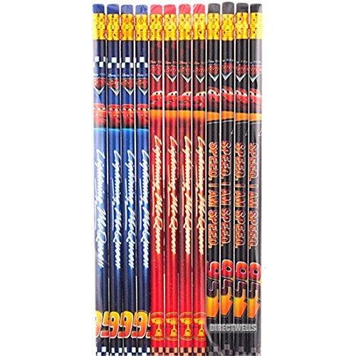 Disney Car Authentic Licensed 12 Wood Pencils Pack ()