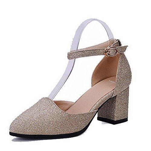 VogueZone009 Damen Pailletten Mittler Absatz Spitz Zehe Rein Schnalle Pumps Schuhe Golden