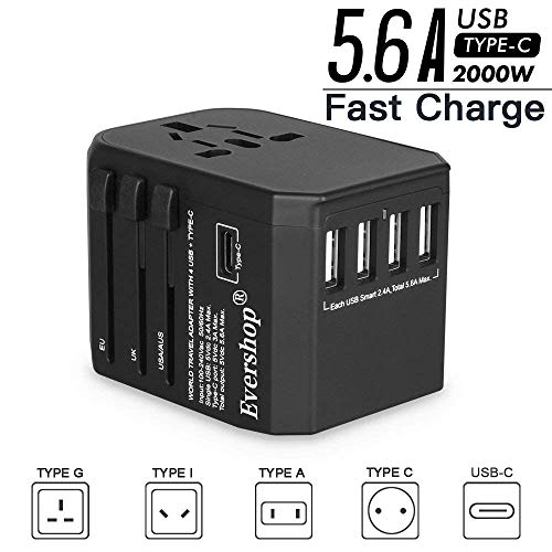 Internationa Travel Adapter, Evershop 5.6A 4 USB and Type-C Port AC Plug Universal Power Adaptor Socket All in One Worldwide Charger Outlet for US AU UK Europe Over 224 Countries