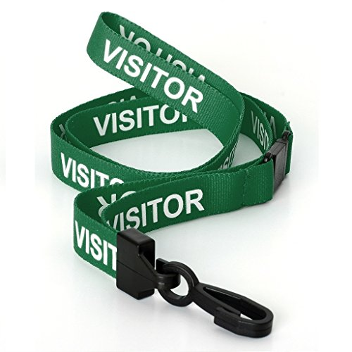 CKB Ltd 10X Green Visitor Lanyards Breakaway Safety Lanyard Neck Strap Swivel Metal Clip For Id Card Holder - Pull Quick Release Design