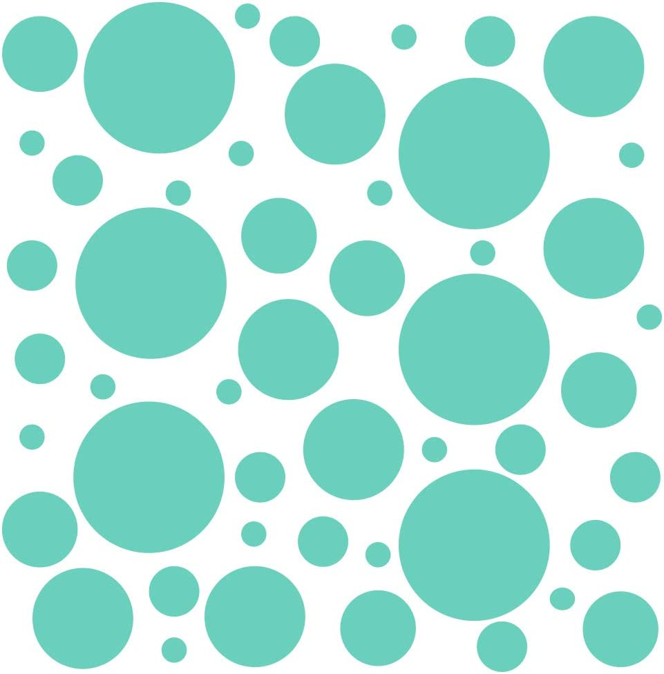 Set of 100 (Mint Green) Vinyl Wall Decals - Assorted Polka Dots Stickers - Removable Adhesive Safe on Smooth or Textured Walls - Round Circles - for Nursery, Kids Room, Bathroom Decor