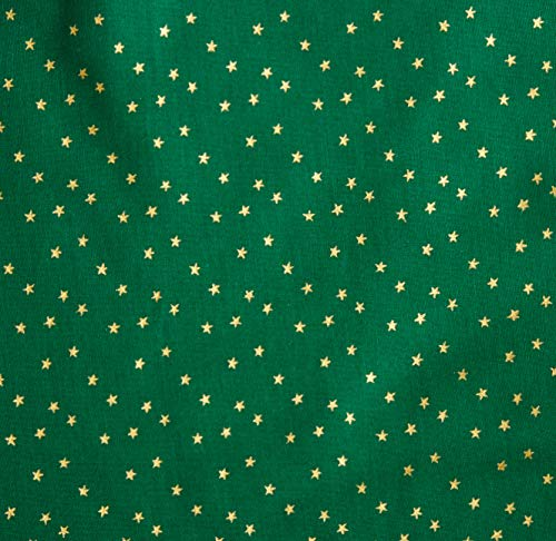 Santee Print Works Merry Christmas Stars Metallic Gold/Green Fabric by The Yard, ()