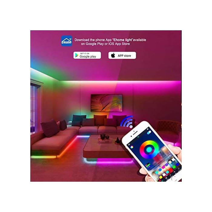 51I450t5f0L Tira de luces LED SMD5050 que cambian de color de 15 m con sincronización de música que cambia de color + controlador Bluetooth + luces LED remotas para recámara, fiesta y decoración del hogar controlada por APP
