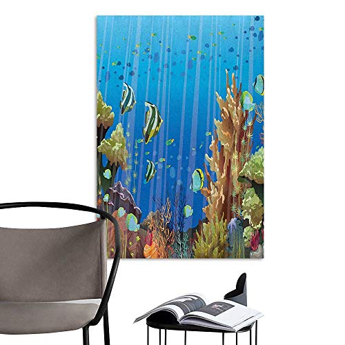 Art Decor 3D Wall Mural Wallpaper Stickers Marine Majestic Universe Deep Underwater World Exotic Coral Reef with Sea Creatures Nature Multicolor Bedroom Wall W8 x H10