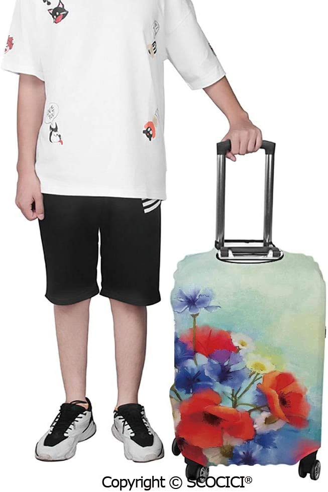 SCOCICI Luggage Cover Close Up Structured Bouquet with Flower Types Poppy Peace Design Protective Travel Trunk Case Elastic Luggage Suitcase Protector Cover
