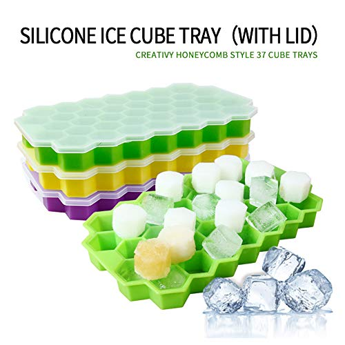 Maxracy Honeycomb Shape Ice Cube Trays with Lid Removable Food Grade Silicon Gel Flexible Easy to Release 37 Holes Silicone Ice CubeMolds for Whiskey Storage,Cocktail,Beverages -