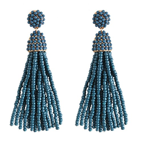 NLCAC Women's Beaded tassel earrings Long Fringe Drop Earrings Dangle 6 Colors (Teal) (Teal Womens Earring)