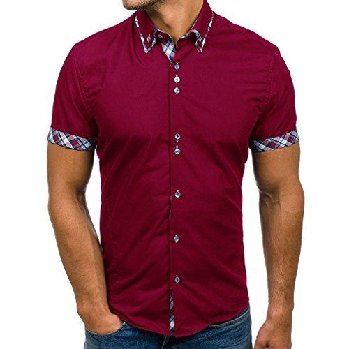 282077a32c Hibote Camisa Hombre Mezcla de Algodón Casual de Manga Corta Top Color  Sólido Suelta Camisas Apropiado Cómodo Transpirable Camisa M-3XL   Amazon.es  Ropa y ...