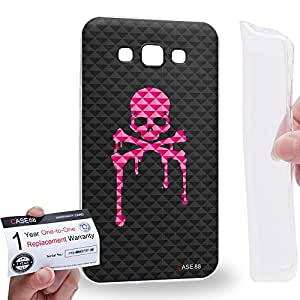 Case88 [Samsung Galaxy E7] Gel TPU Carcasa/Funda & Tarjeta de garantía - Art Blooming Skulls Melting Art1907