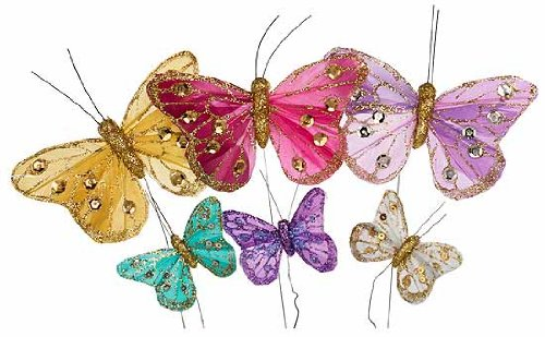 Factory-Direct-Craft-Package-of-12-Delicate-and-Detailed-Feather-Jewel-Tone-Butterflies-with-Glitter-and-Gem-Embellishments