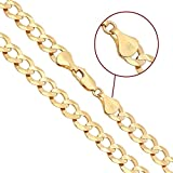 Joule Shop 14K Solid Yellow Gold Cuban Chain 8.5MM Width Curbed Necklace or Linked Bracelet With Lobster Clasp 20''-30'' (26)