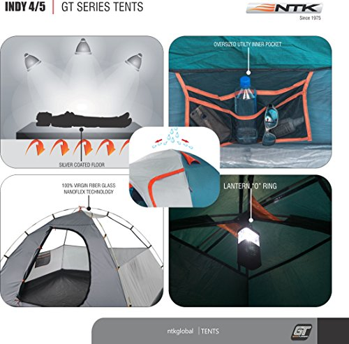 NTK INDY GT 4 to 5 Person 12.2 by 8 Foot Outdoor Dome Family Camping Tent 100% Waterproof 2500mm, European Design, Easy Assembly, Durable Fabric Full Coverage Rainfly - Micro Mosquito Mesh. by NTK (Image #3)