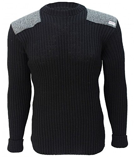 Forrester - Crew Neck Woolly Pully Sweater with Harris Tweed Patches - Black - XL