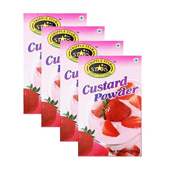 TRIPPLESTAR Strawberry Custard Powder, 100 gm, Pack of 4