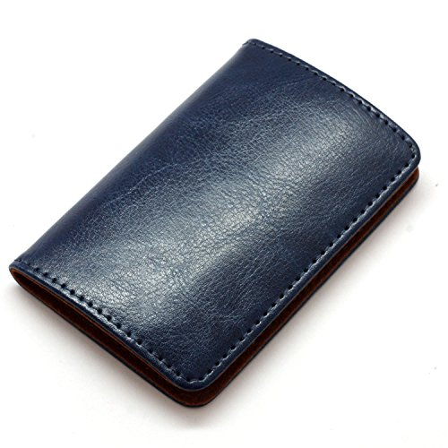 Partstock Premium Stainless Steel & Smooth PU Leather Business Name Card Holder Credit Card Case / ID Case with Magnetic Shut. Perfect Gift - Navy