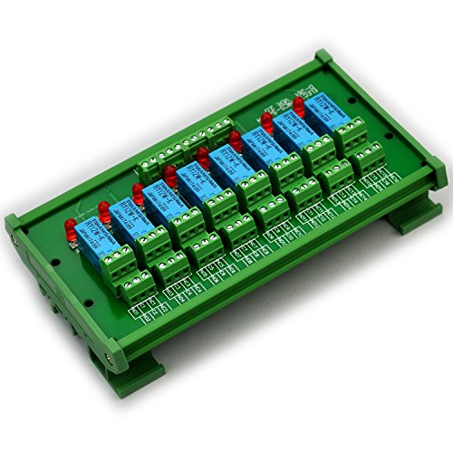 (Electronics-Salon DIN Rail Mount 8 DPDT Signal Relay Interface Module. (Operating Voltage: DC 12V))