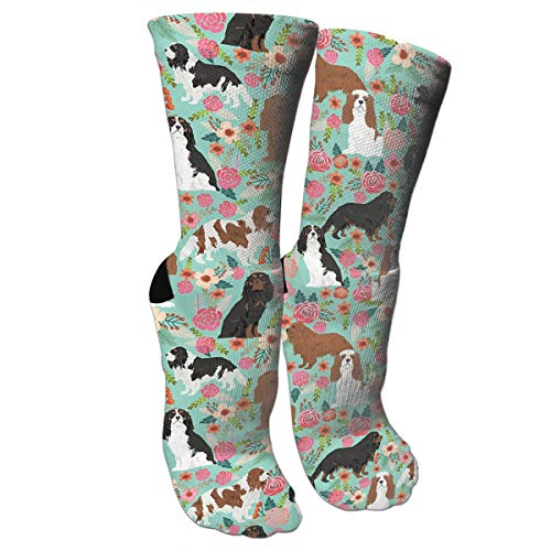 Cavalier King Charles Spaniel Crazy Funny Colorful Novelty Graphic Basketball Crew Tube Socks Charles Street Tall Boots