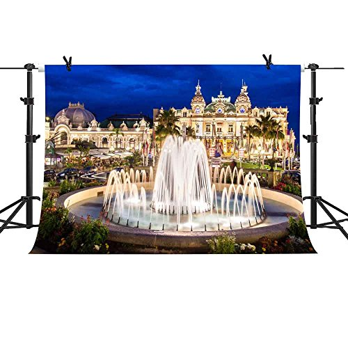 MME 10x7Ft Fascinating Night View of Monaco City Fountain Building Background Video Studio Photograph Backdrop (Monaco Fountain)