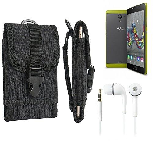 bolsa del cinturón / funda para Wiko U Feel Fab, negro + Auriculares | caja del teléfono cubierta protectora bolso - K-S-Trade (TM)