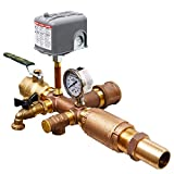 No-lead Brass Installation Tee Package for Wellmate Wm-14wb, 20wb, 25wb, 35wb and Flexcon H2pl38sq, H2pl50, H2pl65, H2pl82, H2pl90 or H2pl120 Well Tanks - 1 1/4'' Incoming Water Line