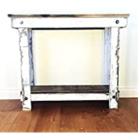 Rustic Handcrafted Reclaimed Console Table - Self Assembly - Natural and White