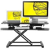 Standing Desk Height Adjustable Sit/Stand up Desk Converter. 38'x 24' Suitable for Dual Computer Monitor Setup, by Husky Desk. Black