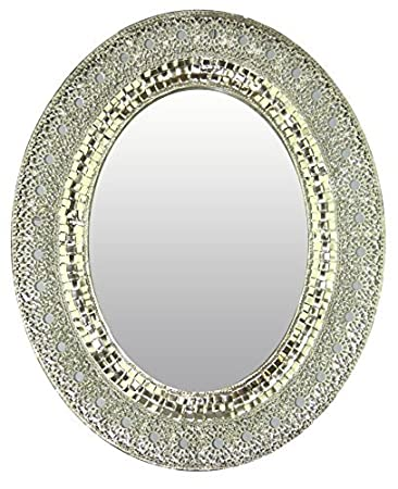 lulu decor oriental oval silver metal beveled wall mirror