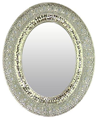 Lulu Decor, Oriental Oval Silver Metal Wall Mirror, - Wall Decor Metal Mirror