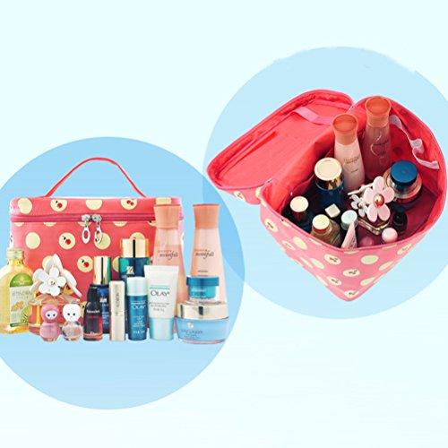 PIXNOR Frauen Handheld Reisen Kosmetik Make-up-Tasche Mädchen-Kultur Wash Bag Organizer - Kirsche Polka Dots Muster (Wassermelonenrot)